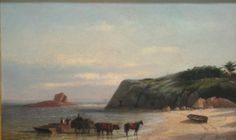 """""""Seaweed Gatherers at Nonquitt,"""" Robert Swain Gifford, 1868, oil on canvas, 17 3/8 x 27 3/16"""", New Bedford Whaling Museum. The location is in Dartmouth, Mass."""