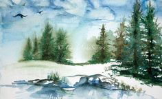 Winter Watercolour Study   Winter Trees by CheyAnneSexton on Etsy