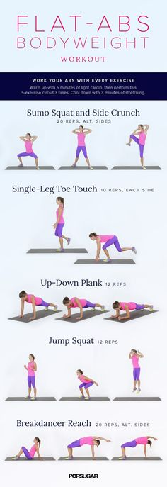 You can flatten your abs without crunches! This workout tones your entire body but with an emphasis on strengthening your abs. Find the poster here but click here for how-tos on each exercise.