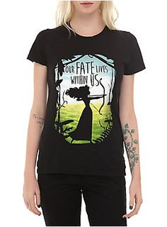 "Fitted black tee from Disney's <i>Brave</i> with ""Our Fate Lives Within Us"" silhouette design.<ul><li> 100% cotton</li><li>Wash cold; dry low</li><li>Imported   </li><li>Listed in junior sizes</li></ul>"