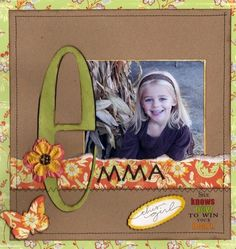 I don't often make one picture pages but really like the fonts used in the name. Could use for Zach, change the pattern paper and girl to boy....add boyish embellishments too.