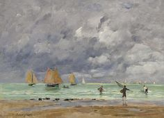 Eugene Boudin - Fishers and Boats near Trouville, 1892. Картины с аукционов Sotheby `s