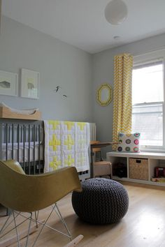 Modern Grey & Yellow Nursery, love the Oeuf crib, floor poof & chevron curtains Chevron Curtains, Nursery Curtains, Nursery Room, Baby Room, Yellow Curtains, Bright Curtains, Patterned Curtains, Chevron Fabric, Child Room