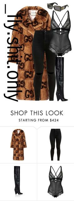 """""""Untitled #2839"""" by flyyshitonly ❤ liked on Polyvore featuring Gucci, Yves Saint Laurent and La Perla"""