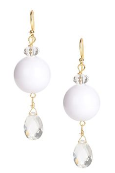 Czech crystal & large white agate bead dangle earrings, French hook back