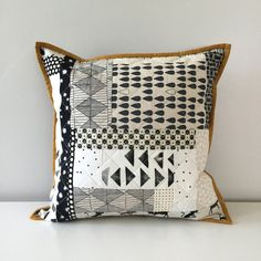 Quilted Throw Pillow Cover | Improv Patchwork Couch Pillow | Scrappy Black and Cream Decorative Accent Pillow | 16 x 16 Pillow Cover