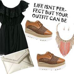 Look # 27-Black Lace Dress-Platform Shoes-Clutch-Necklace - Style Spacez