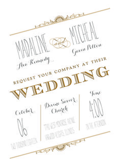 Raised ink wedding invitation in Gold & Silver raised ink. #loveyourinvites #typography #mixedmetal