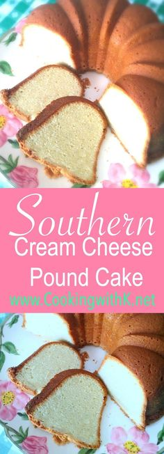 This pound cake has a heavy dose of butter, cream cheese, and eggs, which gives it the velvety texture on the inside and the heavenly sweet crust. The cake bakes in a low oven which takes a little more time to bake but is well worth the wait.