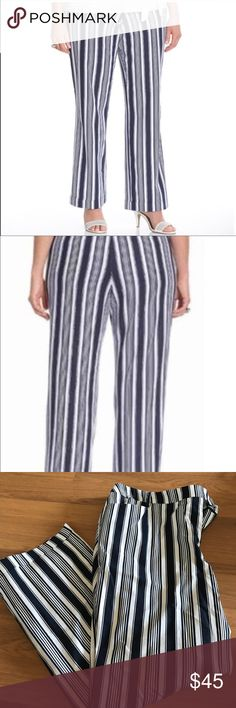Plus💋 Lane Bryant Linen blend trousers NWOT. Beautiful Linen blend trousers from Lane Bryant. Navy and white stripes. Extra button included. Lane Bryant Pants Trousers