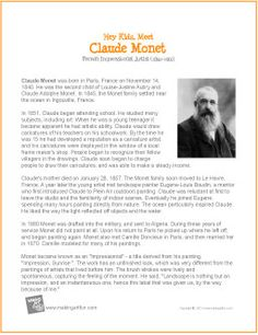 1000 images about artist study resources and ideas on for Biographie claude monet