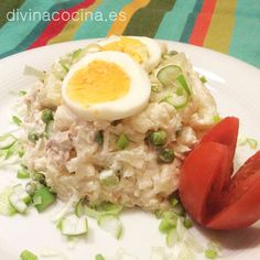ensaladilla de coliflor Low Sugar, Fried Rice, Risotto, Salads, Menu, Fresh, Vegetables, Health, Ethnic Recipes
