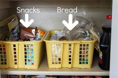 Pantry organizing ideas. use cheap $1 bins to store bread, bagels, tortillas and snacks