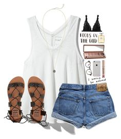 #summer #outfits / White Top + Denim Shorts