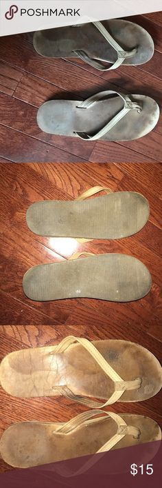 Brown Leather flip flops NOT RAINBOW. Selling these comfortable look alike rainbows. Size 9.5 Shoes Sandals