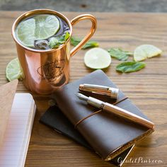 Writing inspiration can come at any time so be prepared with a pen made for heavy writing. Click the link in our bio to shop for the Montegrappa Mule, a copper fountain pen complete with matching copper mug. Cheers!