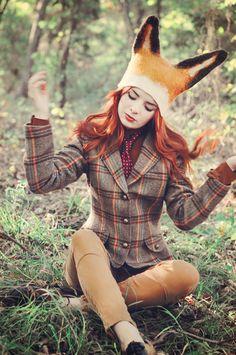 Fox costume for Halloween Boxer, Looks Style, My Style, Fox Hat, Ear Hats, Jolie Photo, Costume Design, Look Fashion, Fancy Dress
