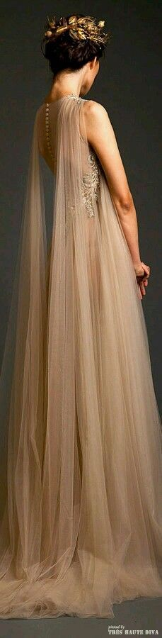 Gwen Inspo- Krikor Jabotian Couture S/S 2014 - Princess, fantasy bride with the stunning shoulder detail of floor length gathered tulle. Beautiful, romantic and ethereal! Evening Dresses, Prom Dresses, Formal Dresses, Wedding Dresses, Dresses 2016, Beautiful Gowns, Beautiful Outfits, Mode Inspiration, Elie Saab