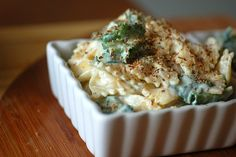 baked spinach and pasta with a creamy roasted garlic sauce, from sweet beet and green bean