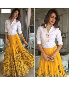 Yellow and White Banglori With Heavy Embroidery Work Semi-Stitched Lehenga Choli