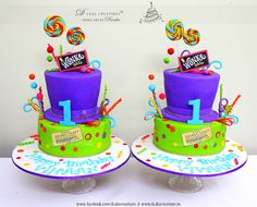 Willy Wonka & the Chocolate Factory Cakes for twins turning one.