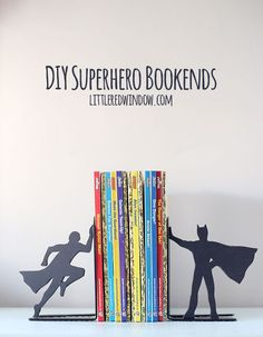 DIY Superhero Bookends for the comic book lover in your life!   littleredwindow.com