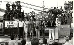 December 1983: (L-R) USO performers Vic Damone, Brooke Shields, Cathy Lee Crosby, Bob Hope, Miss USA, George Kirby and Ann Jillian entertaining US troops at Christmas time shortly after the tragic bombing of the US Marine barracks in Beirut, Lebenon. (Photo by Mai/Mai/The LIFE Images Collection/Getty Images) | Getty Images
