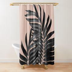 'Palm Leaves Pale Terracotta Black Vibes Shower Curtain by anitabellajantz Gothic Bathroom Decor, Tropical Bathroom Decor, Tropical Shower Curtains, Tropical Decor, Small Bathroom, Bathroom Ideas, Bathrooms, Tan Shower Curtain, Modern Shower Curtains