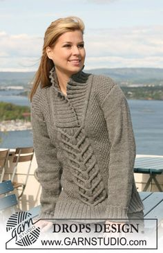 """Knitted DROPS jumper with short or long sleeves with cables and seed st in """"Nepal"""". Size S - XXXL. Free pattern by DROPS Design."""