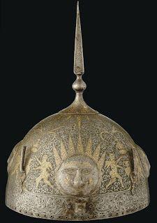 Traditional Persian Helmet of Qajar Era Gold and silver helmet Qajar Period, Iran, 19th Century Size: 20.3 cm in diameter