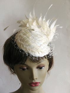 Ivory feather veil wedding hat fascinator by alicehartcouture, $195.00