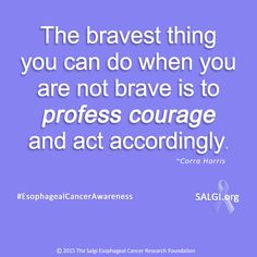 """The bravest thing you can do when you are not brave is to profess courage and act accordingly."" ~Corra Harris ‪#‎MotivationalMonday‬ ‪#‎EsophagealCancerAwareness‬ ‪#‎AllPeriwinkleEverything‬™ www.SALGI.org"