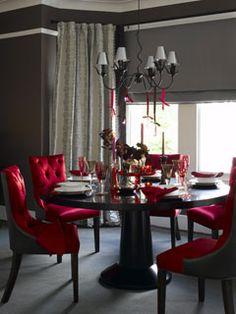 Red & Chocolate Brown elegant dining room.