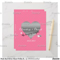 Pink And Silver Heart Polka Dot Wedding Party