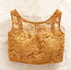 Gold Metallic All over Lace Padded Blouse with by Amoristudios