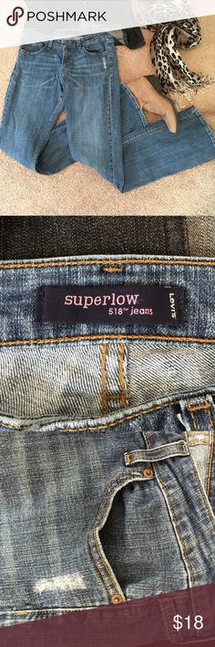 "😎Levis 518 Superlow😎 Nothing is Casual Cool like Levi's jeans!Superlow 518 Levis 11 L/C CLASSIC!! Nearly New. Length from inseam (crotch) 33"" Low waist 34"" Levi's Jeans Boot Cut"