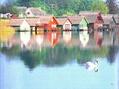 'Bootshäuser am Mirower See / Mecklenburg' von Dirk h. Wendt bei artflakes.com als Poster oder Kunstdruck $18.03
