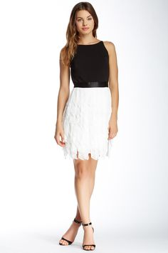 Aidan Mattox Feather Skirt Dress