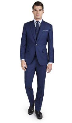 Fern Blue Italian Wool 1-Button Slim Fit 3 Piece Suit,