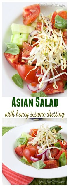 When you plan a nice light asian meal, this is a perfect appetizer to it. A salad with crunchy bean sprouts, basil, red onions, and a nice honey sesame dressing.
