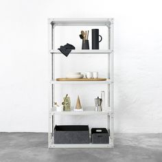 Office or kitchen bolted steel shelving - powder coated - dark white