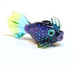 Lampwork Sculpted Bead  Dichroic Fish Focal Bead  by ZenArtGlass, $35.00