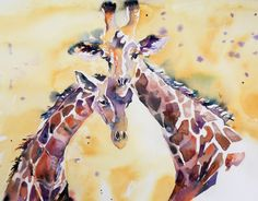 https://flic.kr/p/e2su5w | Giraffes | Watercolour on paper, completed after a day sketching at London Zoo