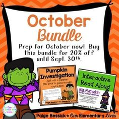 October Activities {Bundle}  Includes Interactive Read Aloud for Big Pumpkin and Pumpkin Investigation mini-book.  20% until Sept. 30.  BUY NOW before the price goes up.  Great reviews on both products.  Plan for October now.