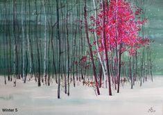 """Sunny Forest 3"" Watercolor by Gabriela Calinoiu www.galeriagabriela.wordpress.com Pictura cu peisaj de iarnă."