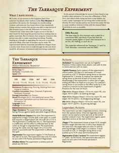 The Tarrasque Experiment : UnearthedArcana Dungeons And Dragons Handbook, Dungeons And Dragons Rogue, Dungeons And Dragons Homebrew, 5e Dnd, Dnd Stats, Dnd Classes, The Minotaur, Dnd 5e Homebrew, Dnd Monsters