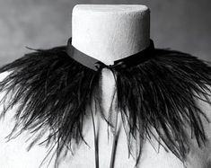 Wedding Bows, Gothic Wedding, Wedding Jewelry, Feather Jewelry, Feather Necklaces, Ostrich Feathers, Black Feathers, Black Swan Costume, Dusty Rose Color