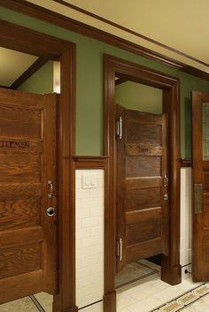 restaurant bathroom Craftsman Full Bathroom with Vintage Walnut Door with Five Horizontal Recessed Panels Barn Bathroom, Craftsman Bathroom, Bathroom Stall, Bathroom Red, Bathroom Doors, Bathroom Floor Tiles, Bathroom Partitions, Craftsman Door, Shiplap Bathroom
