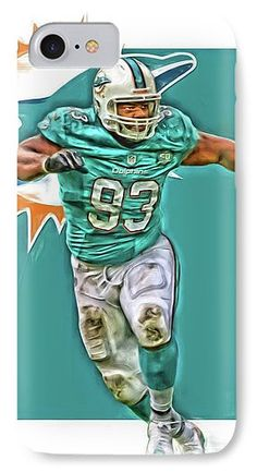 Ndamukong Suh IPhone 7 Case featuring the mixed media Ndamukong Suh Miami Dolphins Oil Art by Joe Hamilton