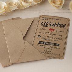 Pack de 10 magnifiques faire-part de mariage en kraft brun avec enveloppes assorties pour inviter vos proche à cette journée spéciale.
